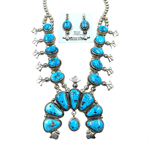 Native American Necklaces & Pendants - Navajo Kingman Turquoise Squash Blossom Necklace Set - Mary Ann Spencer