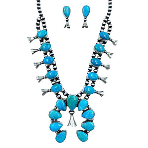 Native American Necklaces & Pendants - Navajo Kingman Turquoise Squash Blossom Set - Lewis Silversmith - Native American