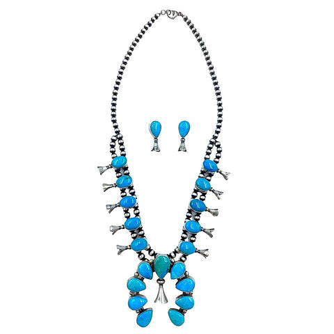 Image of Native American Necklaces & Pendants - Navajo Kingman Turquoise Squash Blossom Set - Lewis Silversmith - Native American