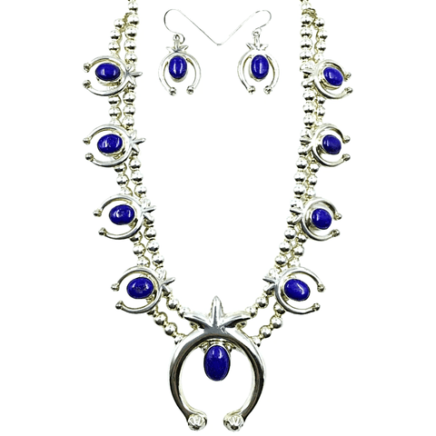 Native American Necklaces & Pendants - Navajo Lapis Blue Naja Squash Blossom Set - Sharon Francisco