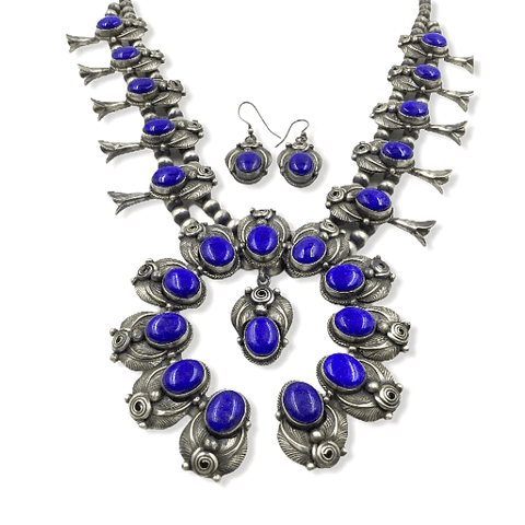 Image of Native American Necklaces & Pendants - Navajo Lapis Squash Blossom Necklace By Jimmy Lee