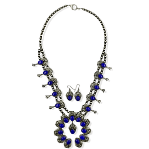Native American Necklaces & Pendants - Navajo Lapis Squash Blossom Necklace By Jimmy Lee