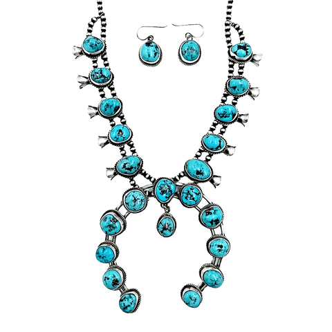 Image of Native American Necklaces & Pendants - Navajo Large Naja Turquoise Squash Blossom Necklace Set - Richard Begay