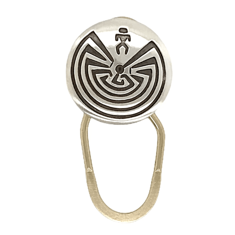 Image of Native American Necklaces & Pendants - Navajo Man-In-The-Maze Sterling Silve Overlay Key Ring
