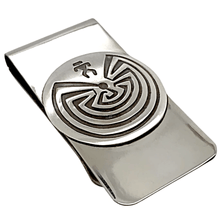 Load image into Gallery viewer, Native American Necklaces & Pendants - Navajo Man-In-The-Maze Sterling Silver Overlay Money Clip - Stanley Gene