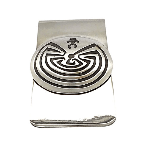 Native American Necklaces & Pendants - Navajo Man-In-The-Maze Sterling Silver Overlay Money Clip - Stanley Gene