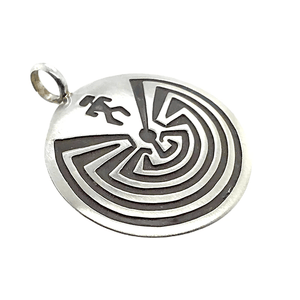 Native American Necklaces & Pendants - Navajo Man-In-The-Maze Sterling Silver Pendant