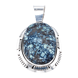 Native American Necklaces & Pendants - Navajo New Landers Turquoise Oval Pendant - Scotty Skeets