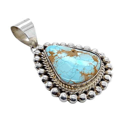Image of Native American Necklaces & Pendants - Navajo Number 8 Turquoise Teardrop Pendant - Mary Ann Spencer