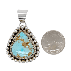 Native American Necklaces & Pendants - Navajo Number 8 Turquoise Teardrop Pendant - Mary Ann Spencer
