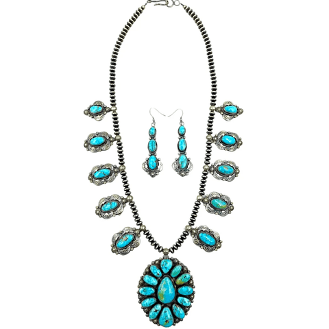 Image of Native American Necklaces & Pendants - Navajo Oval Kingman Turquoise Necklace Set -Oxidized Silver