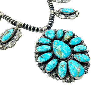 Native American Necklaces & Pendants - Navajo Oval Kingman Turquoise Necklace Set -Oxidized Silver