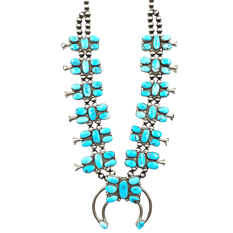 Image of Native American Necklaces & Pendants - Navajo Pawn Abstract Turquoise Butterfly Squash Blossom Necklace