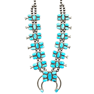Native American Necklaces & Pendants - Navajo Pawn Abstract Turquoise Butterfly Squash Blossom Necklace