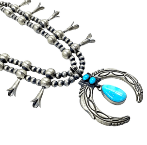 Native American Necklaces & Pendants - Navajo Pawn Dangle Kingman Turquoise Squash Blossom Necklace
