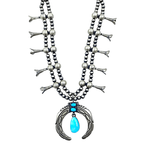 Image of Native American Necklaces & Pendants - Navajo Pawn Dangle Kingman Turquoise Squash Blossom Necklace