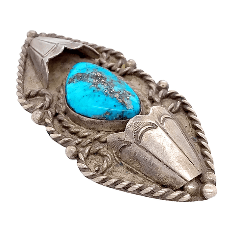 Image of Native American Necklaces & Pendants - Navajo Pawn Embellished Turquoise Brooch Pin