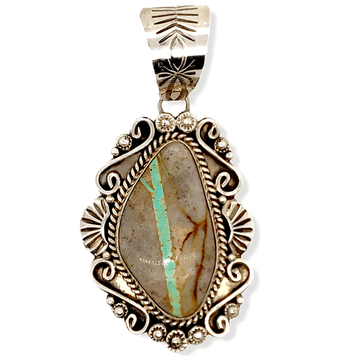 Native American Necklaces & Pendants - Navajo Pendant Royston Ribbon Boulder Turquoise