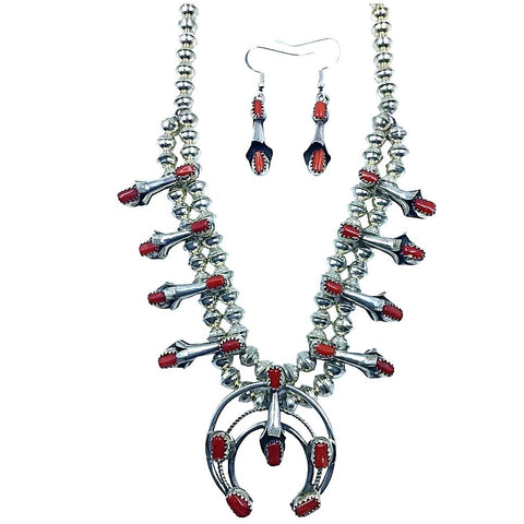 Image of Native American Necklaces & Pendants - Navajo Petit Size Red Coral Squash Blossom Necklace Set - Phil & Lenore Garcia