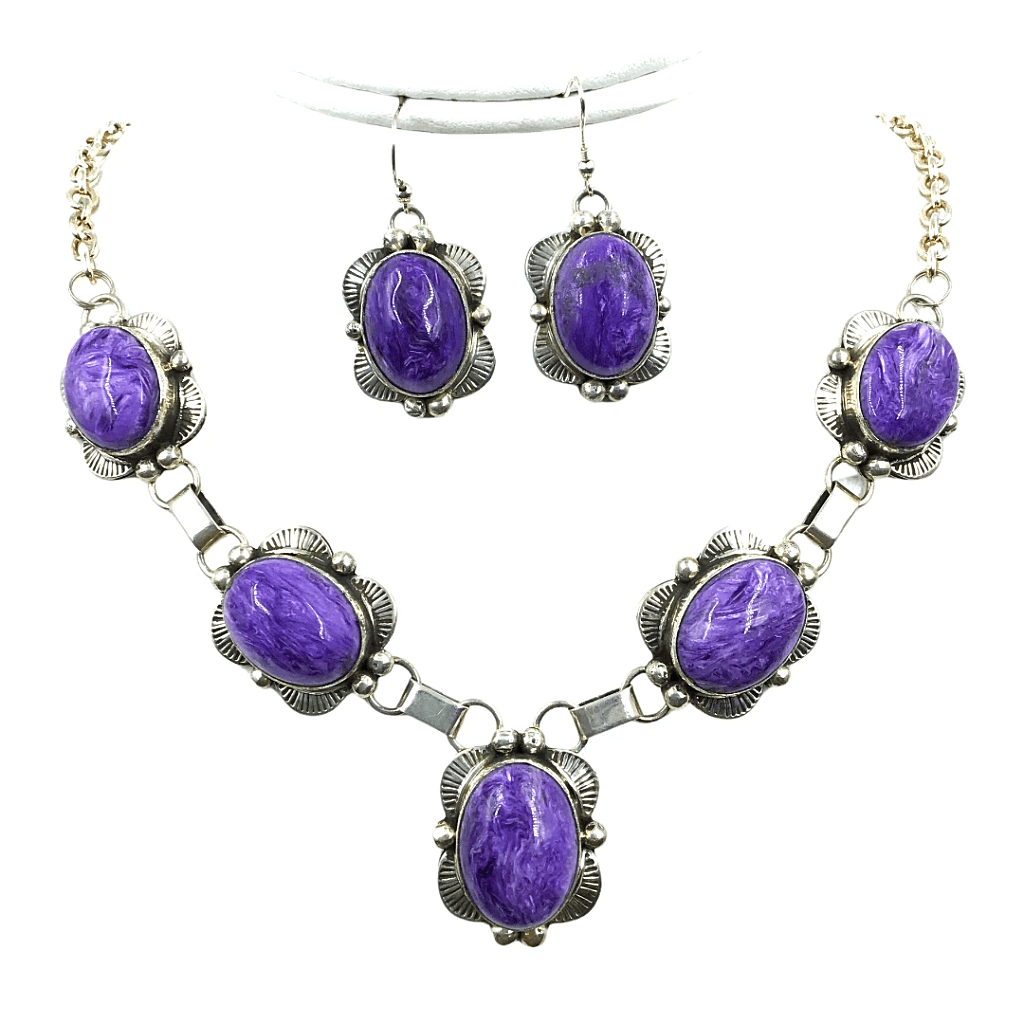 Native American Necklaces & Pendants - Navajo Purple Chrolite Necklace Set - Mary Ann Spencer