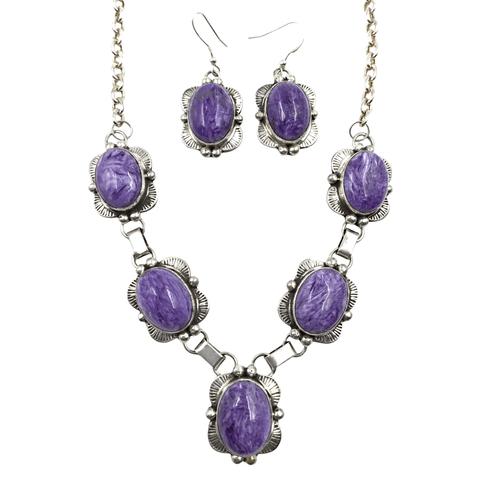 Image of Native American Necklaces & Pendants - Navajo Purple Chrolite Necklace Set - Mary Ann Spencer
