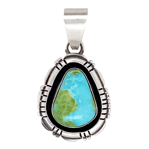 Image of Native American Necklaces & Pendants - Navajo Royston Teardrop Turquoise Pendant - E. Spence