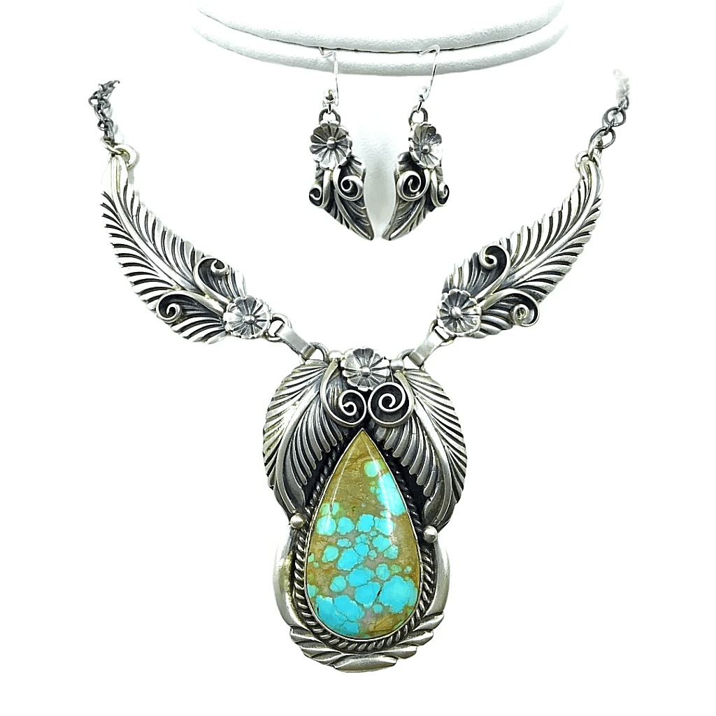 Native American Necklaces & Pendants - Navajo Royston Turquoise  Feather Teardrop Sterling Silver Necklace Set