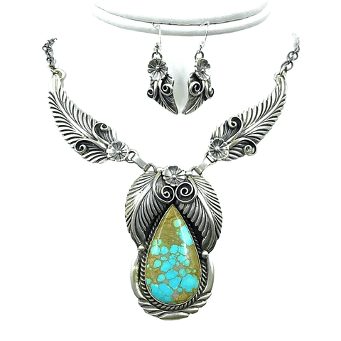 Image of Native American Necklaces & Pendants - Navajo Royston Turquoise  Feather Teardrop Sterling Silver Necklace Set