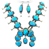 Native American Necklaces & Pendants - Navajo Sleeping Beauty Turquoise Squash Blossom Necklace Set - Mary Ann Spencer