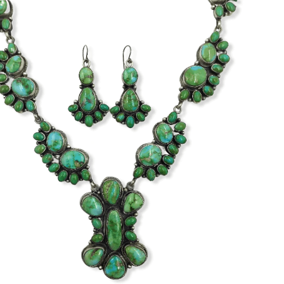 Native American Necklaces & Pendants - Navajo Sonoran Turquoise Cluster Necklace And Earrings