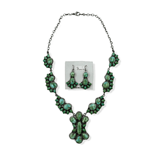 Load image into Gallery viewer, Native American Necklaces & Pendants - Navajo Sonoran Turquoise Cluster Necklace And Earrings