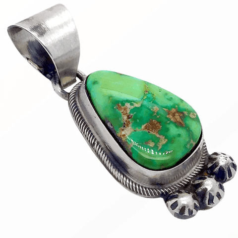 Image of Native American Necklaces & Pendants - Navajo Sonoran Turquoise Pendant With Embellished Silver Setting