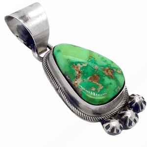 Native American Necklaces & Pendants - Navajo Sonoran Turquoise Pendant With Embellished Silver Setting