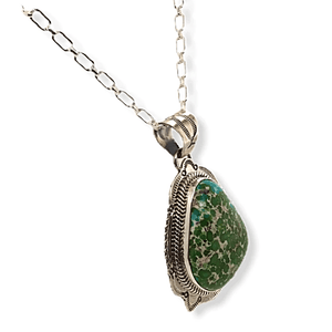 Native American Necklaces & Pendants - Navajo Sonoran Turquoise Stamped Setting Pendant W/ Chain