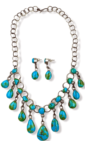Image of Native American Necklaces & Pendants - Navajo Sonoran Turquoise Teardrop Charm Necklace