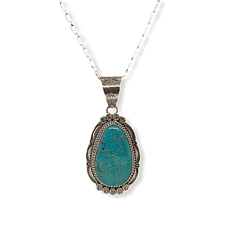 Image of Native American Necklaces & Pendants - Navajo Spider Web Kingman Turquoise Pendant