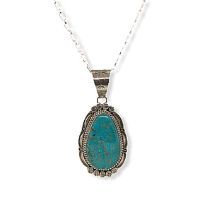 Native American Necklaces & Pendants - Navajo Spider Web Kingman Turquoise Pendant
