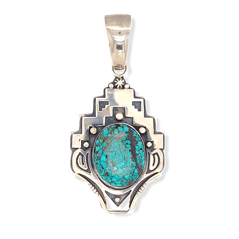 Native American Necklaces & Pendants - Navajo Spider Web Kingman Turquoise  Pendant With Stamped Setting