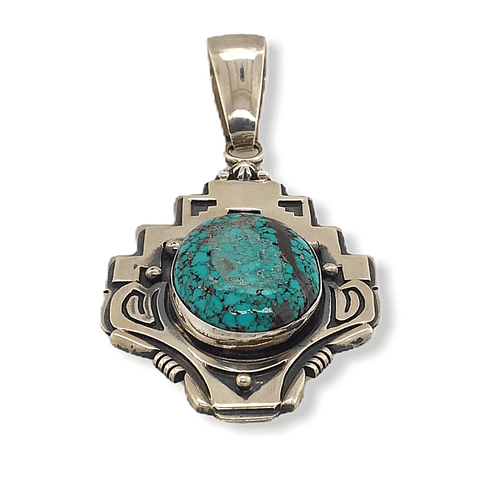 Image of Native American Necklaces & Pendants - Navajo Spider Web Kingman Turquoise  Pendant With Stamped Setting