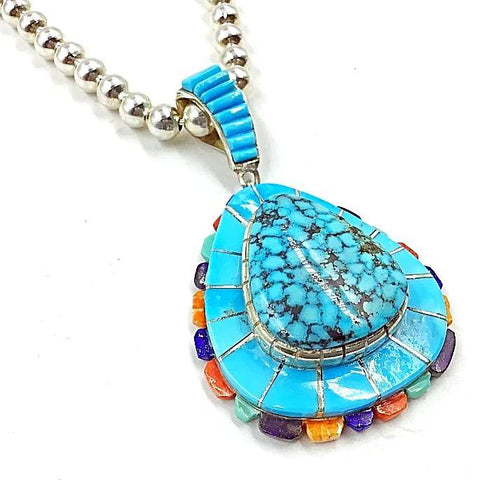 Native American Necklaces & Pendants - Navajo Spider Web Turquoise Multistone Inlay Necklace  - Merle House