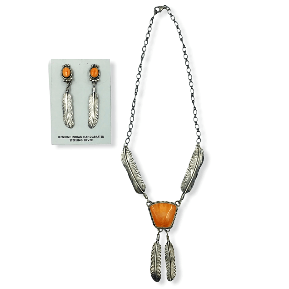 Native American Necklaces & Pendants - Navajo Spiny Oyster And Sterling Silver Feather Necklace Set