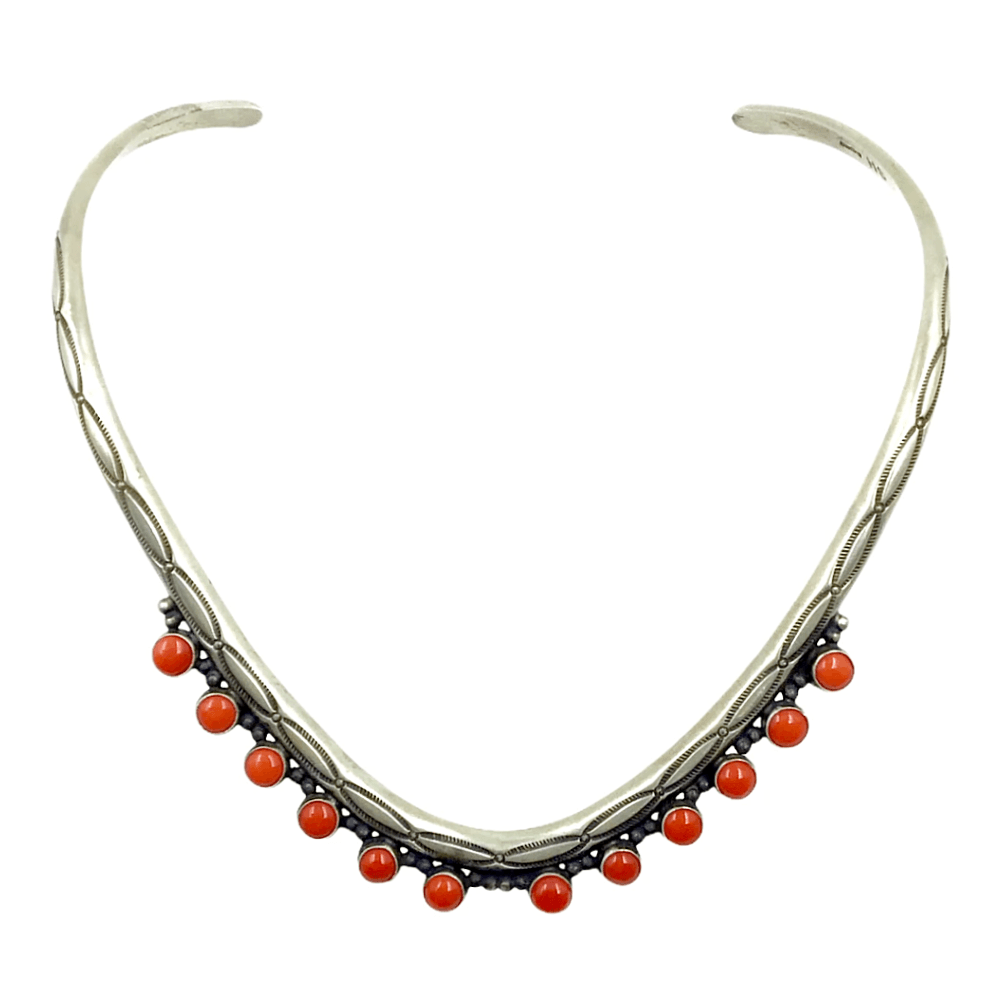 Native American Necklaces & Pendants - Navajo Sterling Silver And Red Coral Choker Desert Queen Necklace - Shirley Henry
