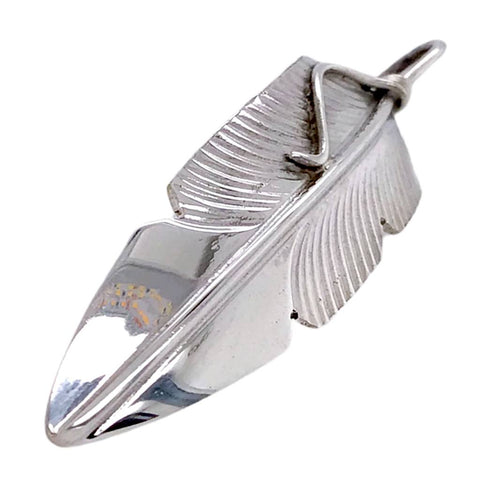 Image of Native American Necklaces & Pendants - Navajo Sterling Silver Feather Pendant - Chris Charley