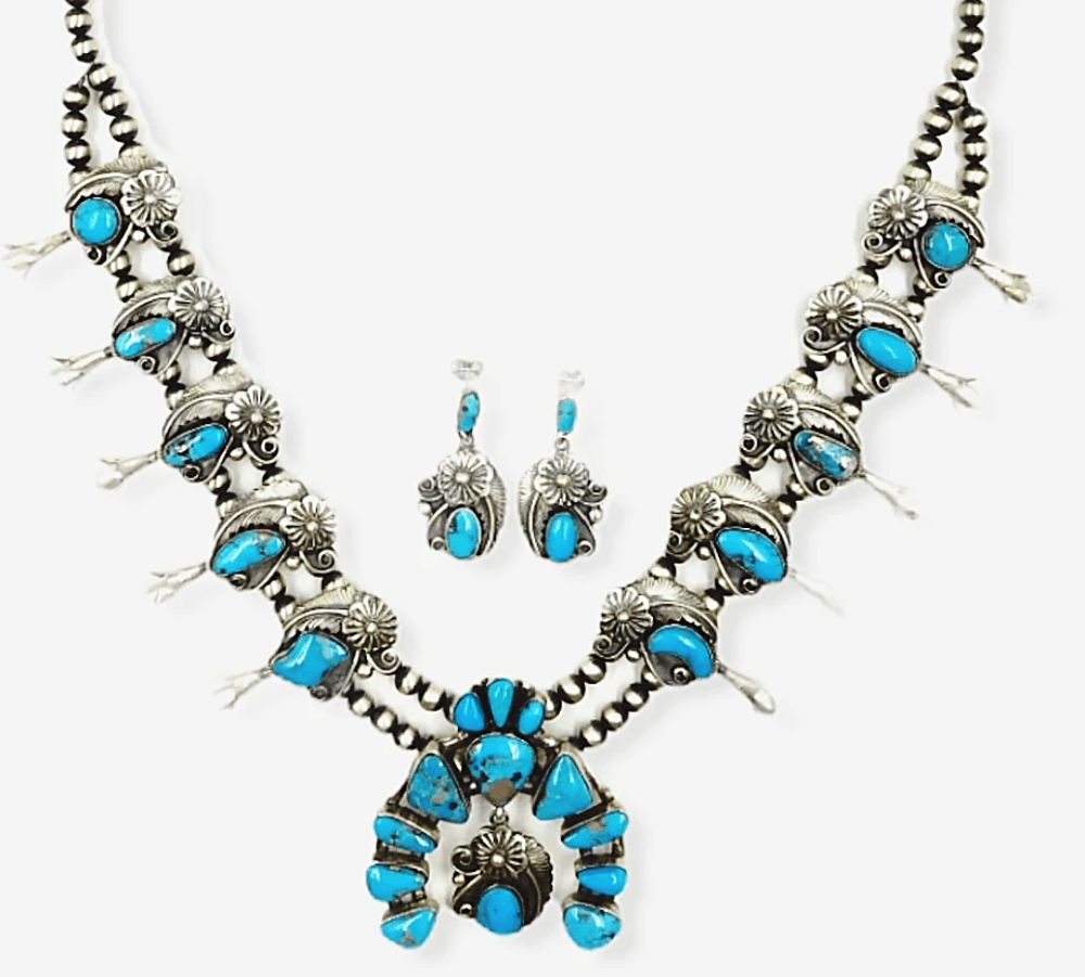 Native American Necklaces & Pendants - Navajo Turquoise Leaf Work Squash Blossom Necklace  -Jimmy Lee