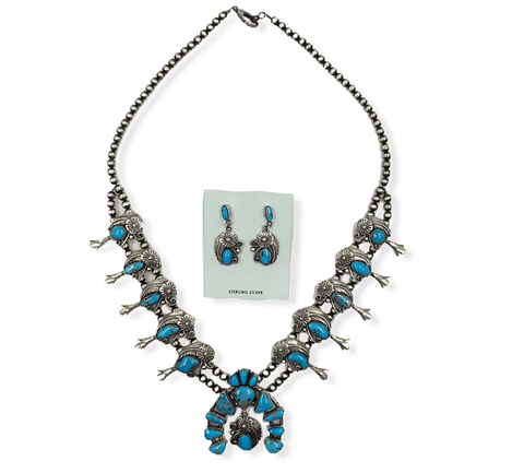 Image of Native American Necklaces & Pendants - Navajo Turquoise Leaf Work Squash Blossom Necklace  -Jimmy Lee