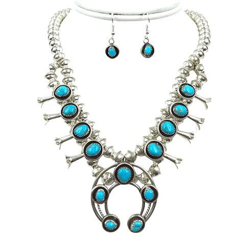 Image of Native American Necklaces & Pendants - Navajo Turquoise Squash Blossom Necklace By Phil & Lenore Garcia -Small Size