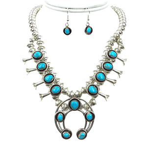 Native American Necklaces & Pendants - Navajo Turquoise Squash Blossom Necklace By Phil & Lenore Garcia -Small Size