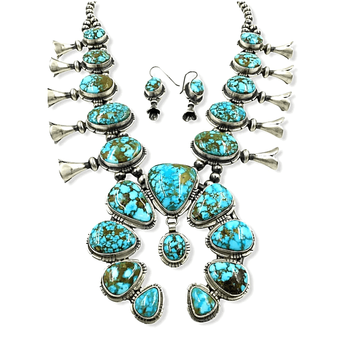 Native American Necklaces & Pendants - Navajo Turquoise Squash Blossom Necklace - Samson Edsitty