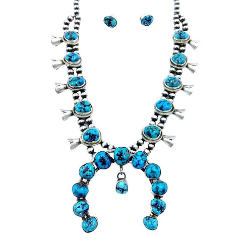 Image of Native American Necklaces & Pendants - Navajo Turquoise Squash Blossom Sterling Silver Native American Necklace Set - Kathleen Chavez