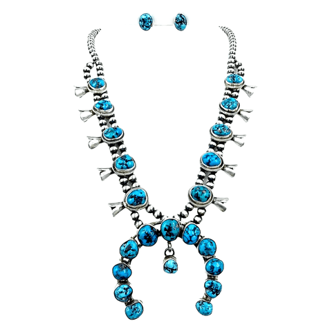 Image of Native American Necklaces & Pendants - Navajo Turquoise Squash Blossom Sterling Silver Necklace Set - Kathleen Chavez